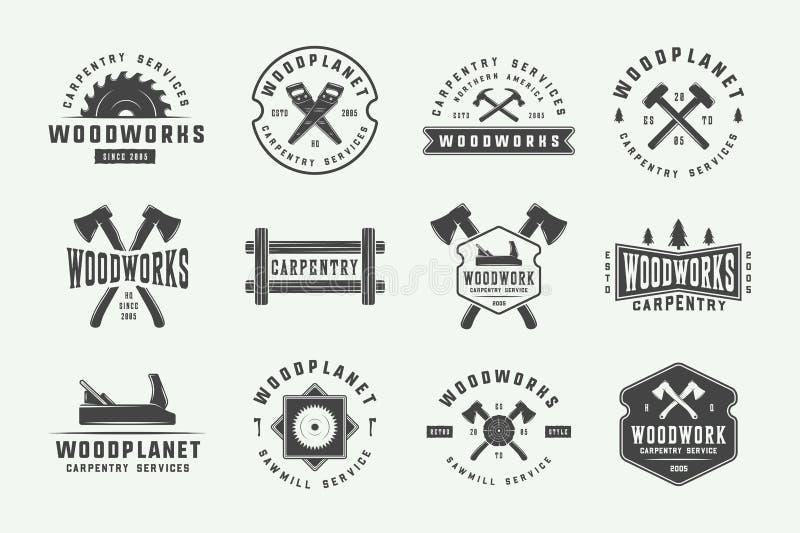 Ajuste da carpintaria do vintage, etiquetas da carpintaria, crachás, emblemas ilustração do vetor