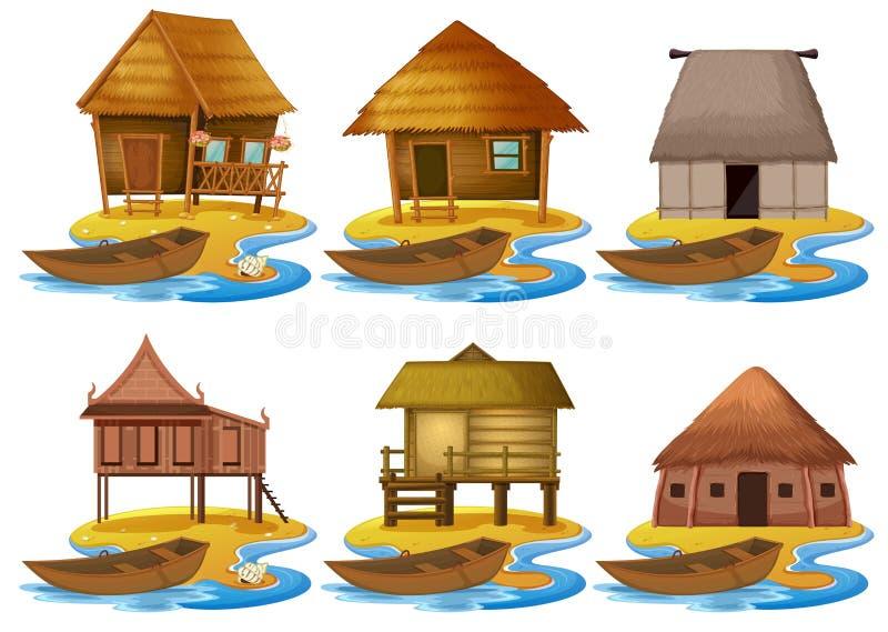 Ajuste da casa de madeira diferente ilustração do vetor