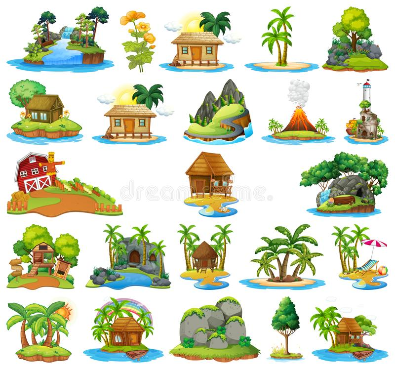 Ajuste da casa na ilha isolada ilustração do vetor