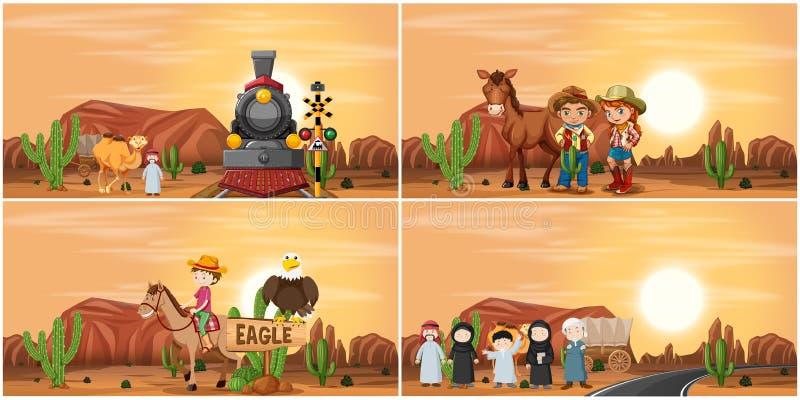 Ajuste da cena do deserto ilustração stock