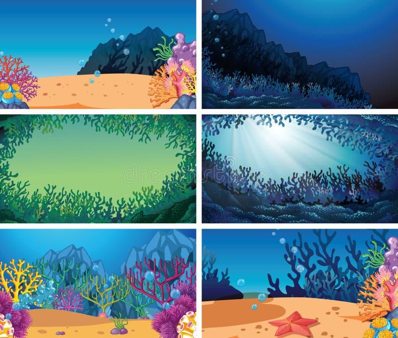 Ajuste da cena subaquática diferente ilustração do vetor