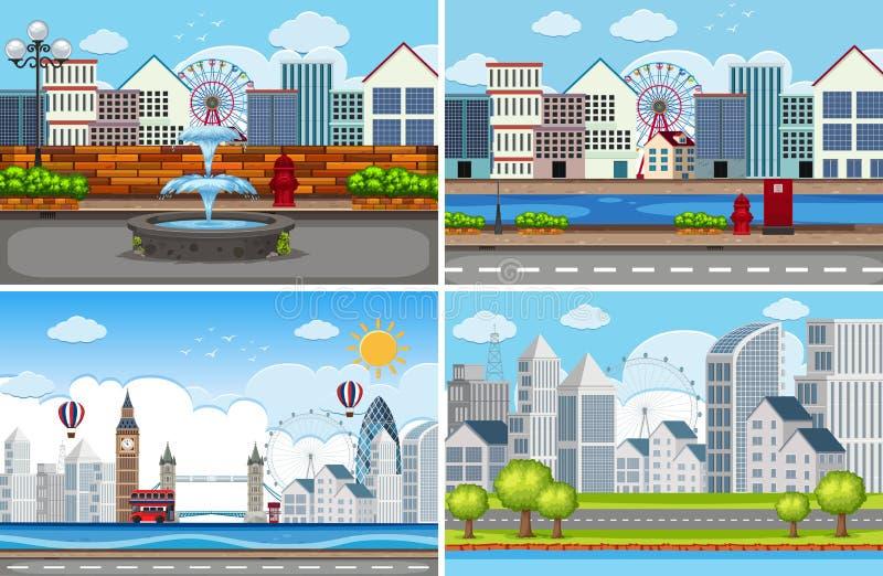 Ajuste da cena urbana ilustração do vetor