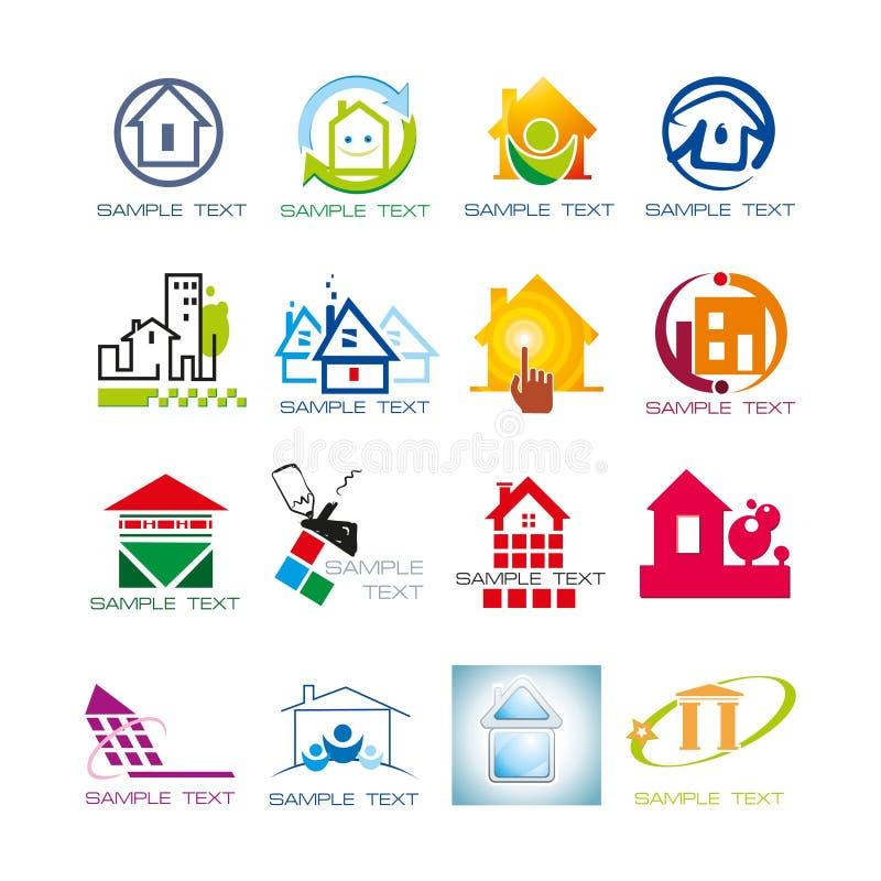 Ajuste da coleção do logotipo dos bens imobiliários ilustração do vetor