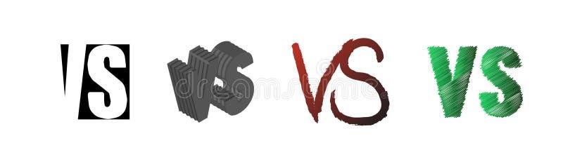 Ajuste da competição do símbolo CONTRA Contra letras do texto Ilustração do vetor ilustração stock