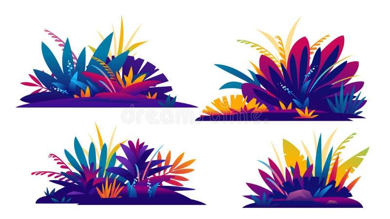 Ajuste da composição decorativa de plantas da selva ilustração do vetor