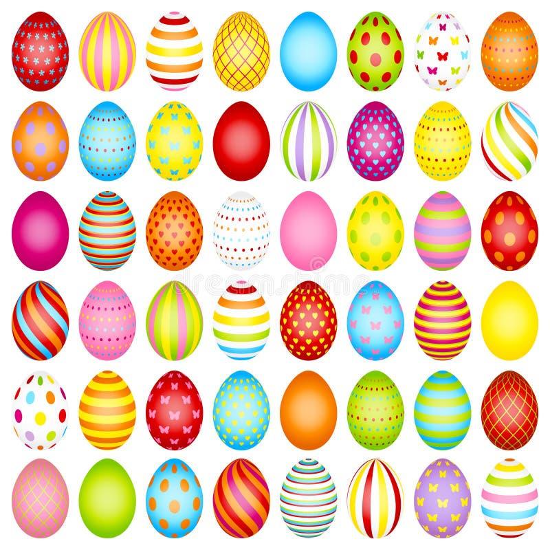 Ajuste da cor magro dos ovos da páscoa com teste padrão ilustração stock