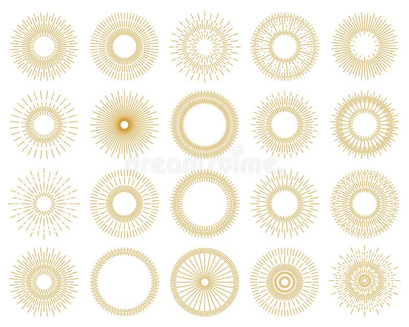 Ajuste da cor sunburst do ouro dos elementos do projeto isolada no backgroun ilustração stock