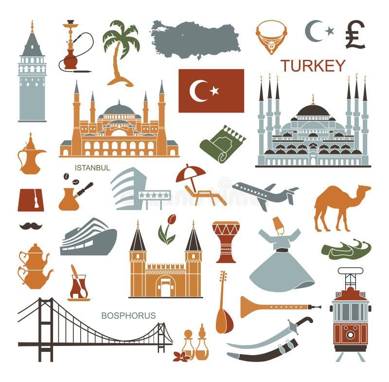 Ajuste da cultura de Turquia do país e dos símbolos tradicionais Coleção de ícones lisos ilustração stock