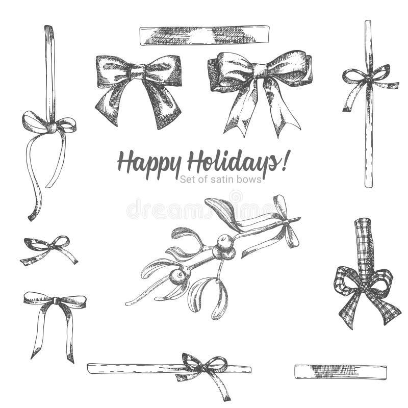 Ajuste da curva tirada mão do cetim do feriado do esboço Estilo do vintage Decoração tradicional do Natal Para o cartão do feriad ilustração royalty free
