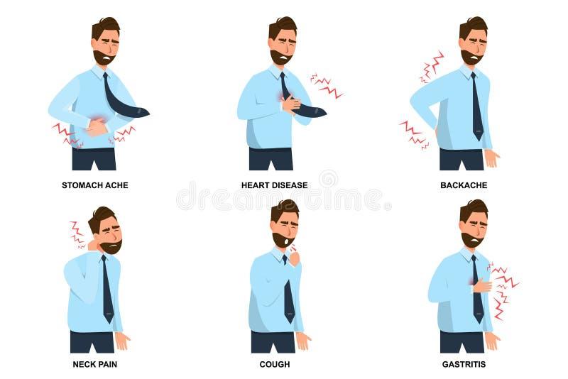 ajuste da dor de estômago do homem, da doença cardíaca, da dor lombar, da dor de pescoço, da tosse e da gastrite doentes ilustração royalty free