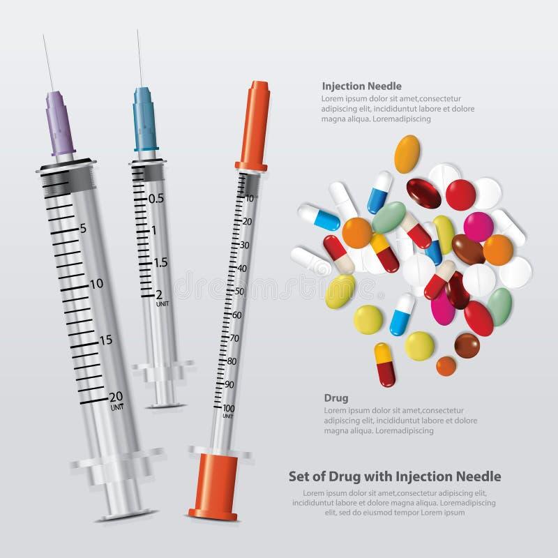 Ajuste da droga com agulha da inje??o real?stico ilustração royalty free