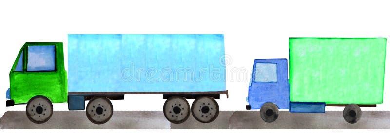 Ajuste da entrega do caminhão e do carro na estrada ilustração da aquarela para cópias, compartimentos e cartazes imagem de stock royalty free