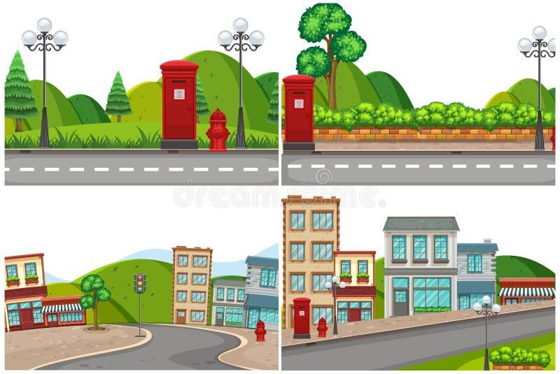 Ajuste da estrada da cidade ilustração stock