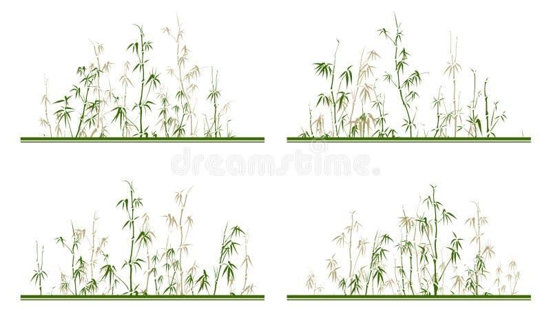 Ajuste da etiqueta horizontal com árvores de bambu ilustração royalty free