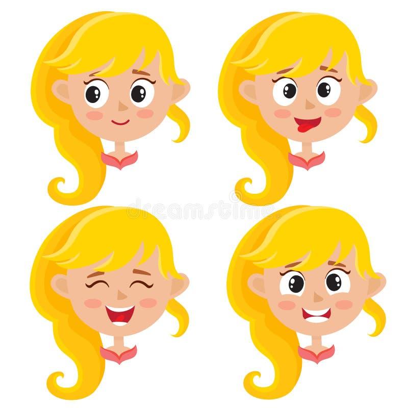 Ajuste da expressão feliz da cara da menina loura isolada no branco ilustração stock