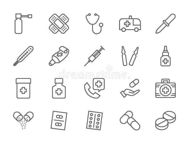 Ajuste da farmácia e as medicamentações alinham ícones Carro da ambulância, estetoscópio e mais ilustração do vetor