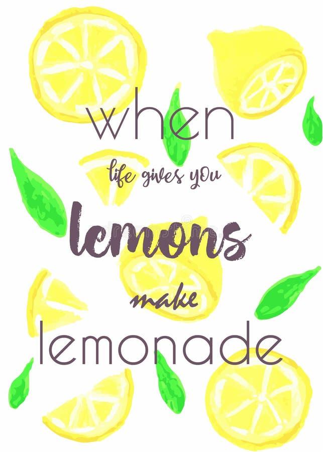 Ajuste da fatia diferente de limão, com citações Ilustração de pinturas de óleo foto de stock royalty free