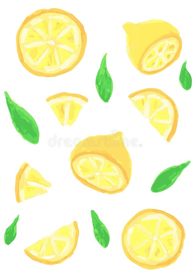 Ajuste da fatia diferente de limão, pintada com pinturas de óleo imagem de stock royalty free