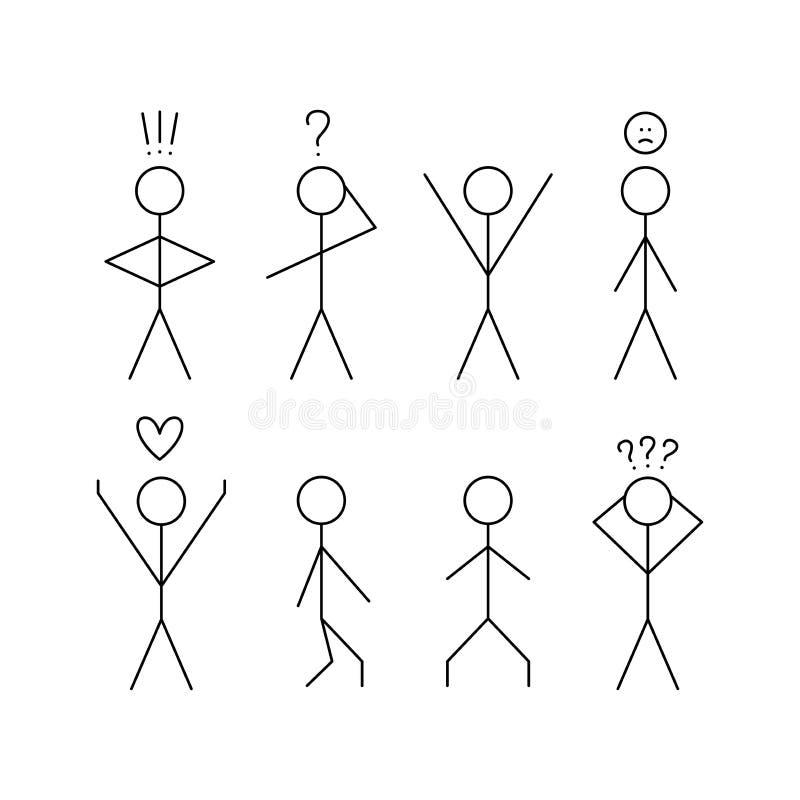 Ajuste da figura dos povos das varas No pensamento, no amor ilustração stock