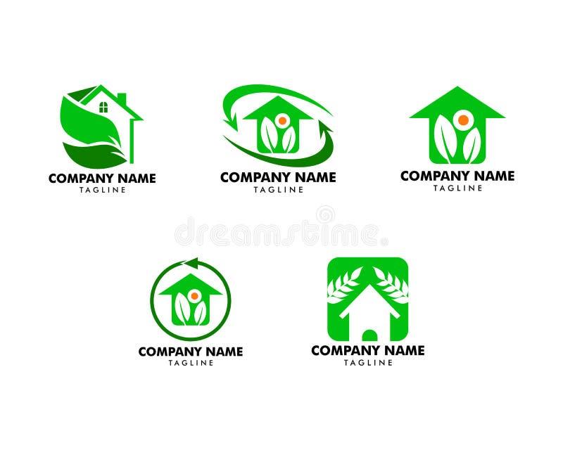 Ajuste da folha e da casa verde Logo Template ilustração royalty free
