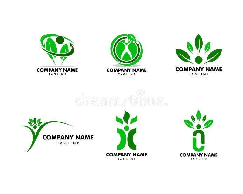Ajuste da folha humana Logo Template ilustração do vetor