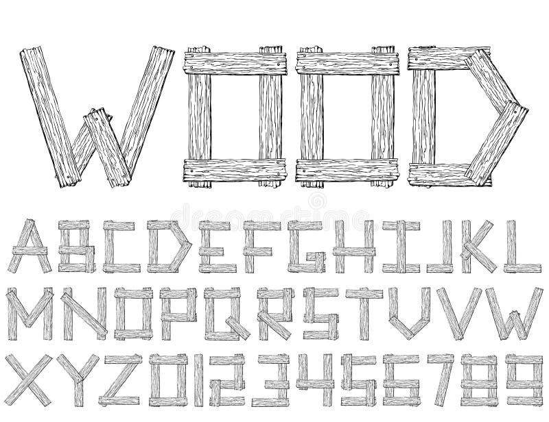 Ajuste da fonte e do alfabeto abstratos de madeira do vetor ilustração royalty free