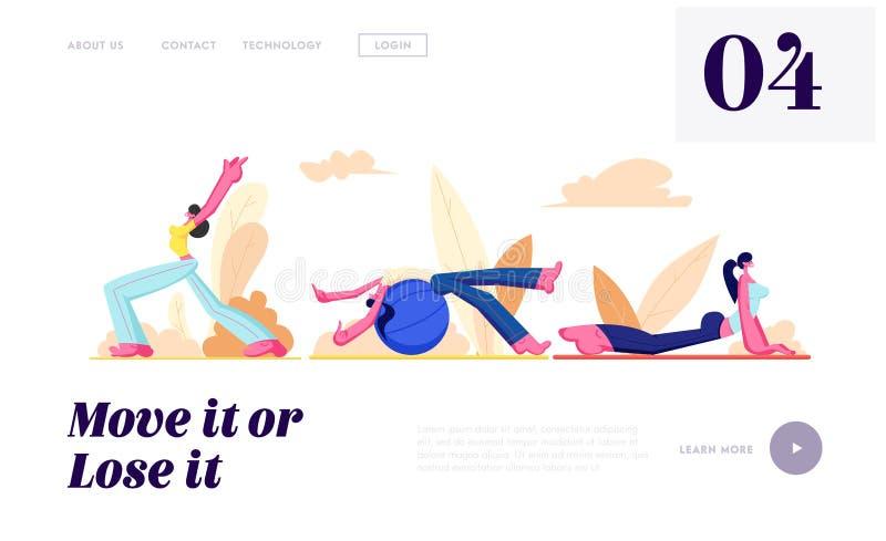 Ajuste da formação dos caráteres fêmeas Openair Suporte da menina com mãos acima, exercício de Fitball, cão Asana da ioga, estilo ilustração royalty free