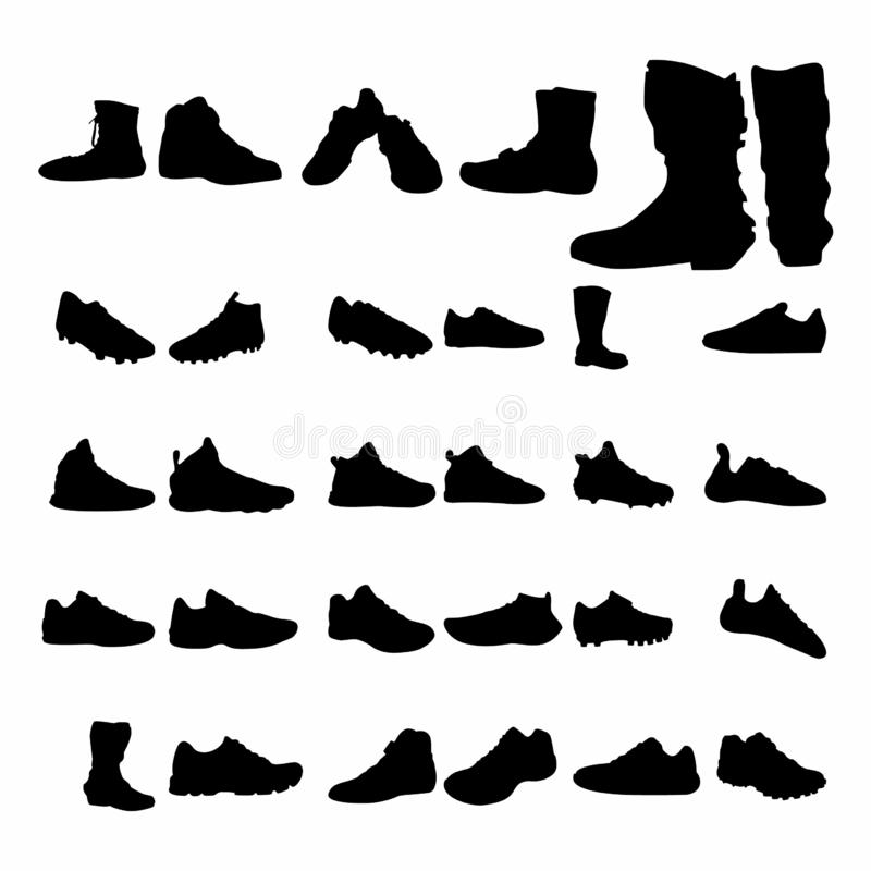 Ajuste da forma do vetor das sapatas, esporte, rua, cavaleiro, estilo diferente - vetor ilustração do vetor