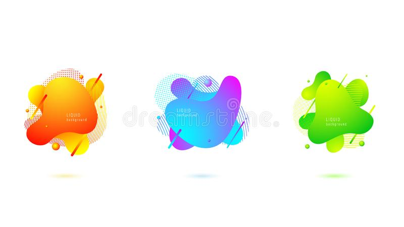 Ajuste da forma l?quida abstrata Projeto fluido, formulários coloridos dinâmicos e linha ilustração do vetor