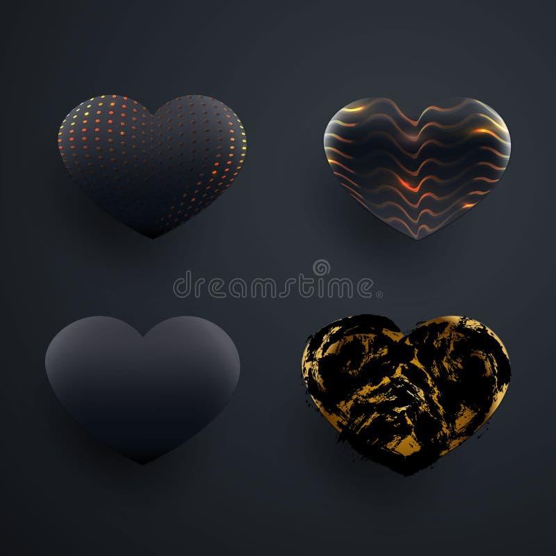 Ajuste da forma lustrosa preta textured bonita do coração 3d Pontilhe a textura, curvatura, onda, pontos da tinta Elementos preto ilustração do vetor