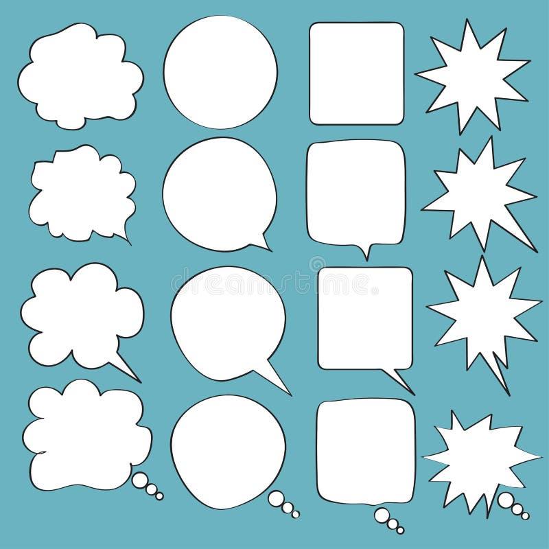 Ajuste da garatuja da bolha do discurso do ícone com acentuação, nuvens e bolhas para o discurso imagem de stock