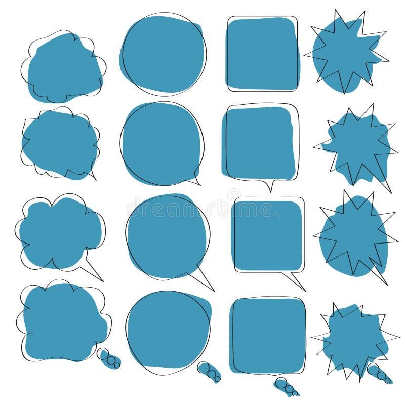 Ajuste da garatuja da bolha do discurso do ícone com acentuação, nuvens e bolhas para o discurso foto de stock royalty free