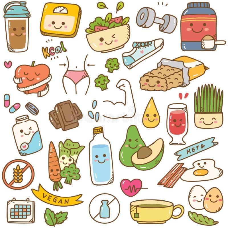 Ajuste da garatuja do kawaii da dieta ilustração do vetor