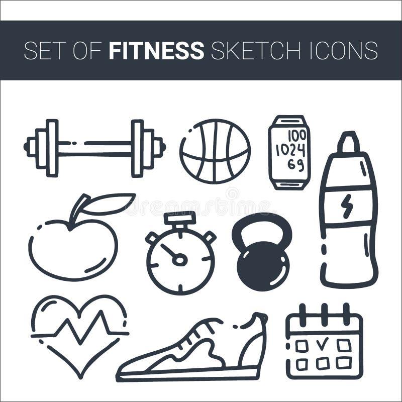 Ajuste da garatuja tirada mão do esporte com bola, garrafa, medalha, alimento, dieta, aptidão e elementos do gym Estilo do esbo?o ilustração stock