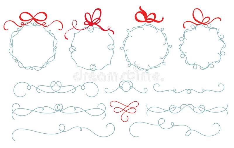 Ajuste da grinalda e do divisor tirados mão do vetor do Natal Ilustração do jogo decorativo do vintage de elementos do Natal com  ilustração stock