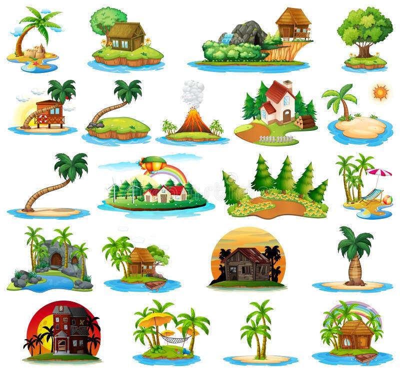 Ajuste da ilha da natureza ilustração do vetor