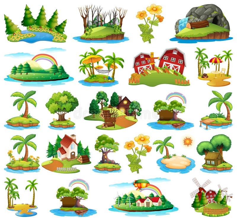 Ajuste da ilha da natureza ilustração royalty free