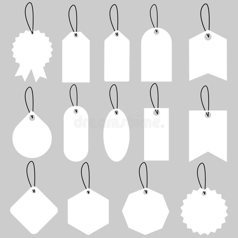 Ajuste da ilustração das etiquetas e das etiquetas da venda , vetor das etiquetas da compra do molde Placa, desconto e pre?os no  ilustração do vetor
