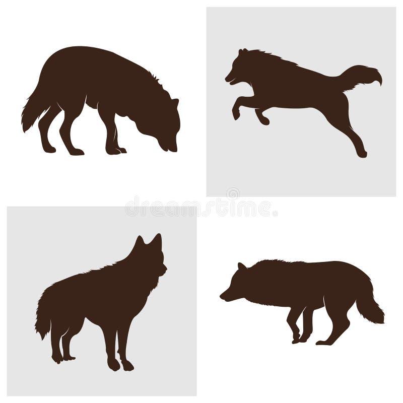 Ajuste da ilustração de Wolf Abstract Logo Design Vetora Wolf Logo Template Estilo liso simples S?mbolo do ?cone ilustração do vetor
