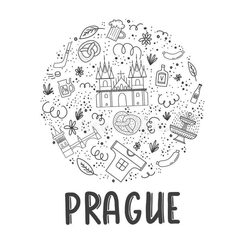 Ajuste da ilustração do vetor de Praga Ilustração do curso com marcos checos ilustração do vetor
