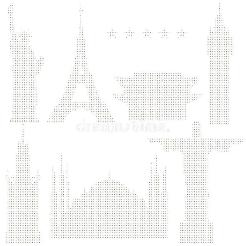 Ajuste da ilustração estilizado do vetor de marcos do mundo ilustração royalty free