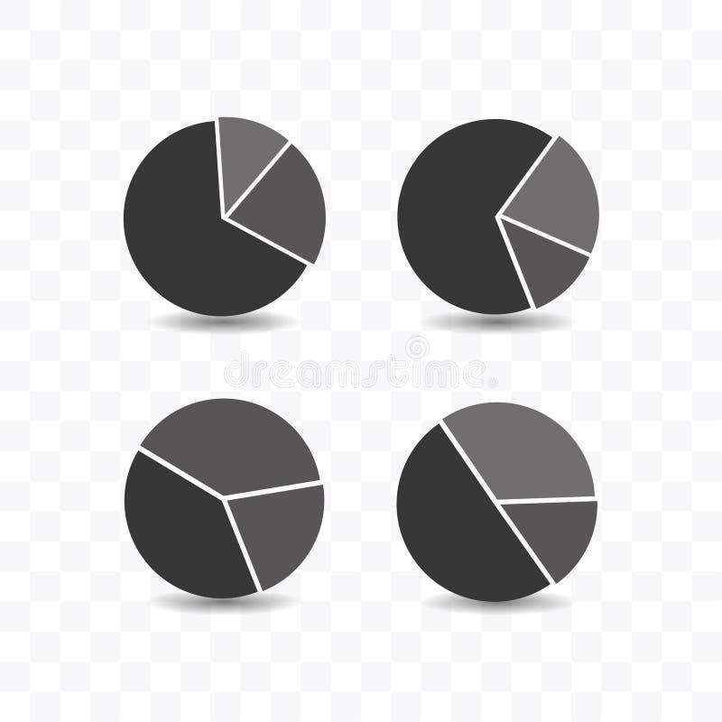 Ajuste da ilustração lisa simples do vetor do estilo do ícone da carta de torta ilustração stock