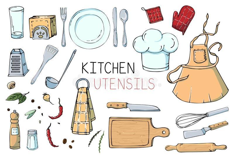 Ajuste da ilustração tirada mão com utensílios da cozinha Desenho real do vetor de ferramentas coocking: prato, forquilha, colher ilustração royalty free