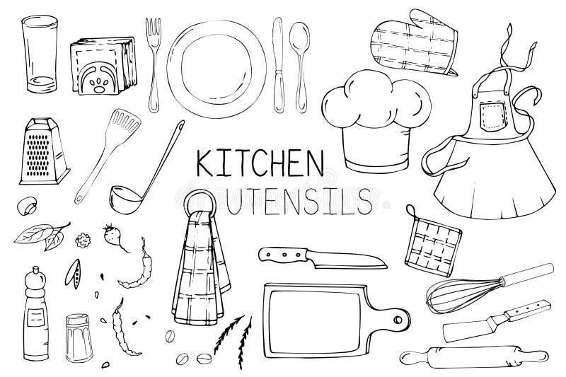 Ajuste da ilustração tirada mão com utensílios da cozinha Desenho real do vetor de ferramentas coocking: prato, forquilha, colher ilustração do vetor