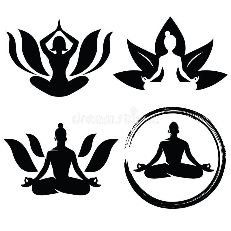 Ajuste da ioga Logo Design Vetora da meditação ilustração do vetor