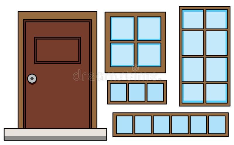 Ajuste da janela e da porta ilustração royalty free