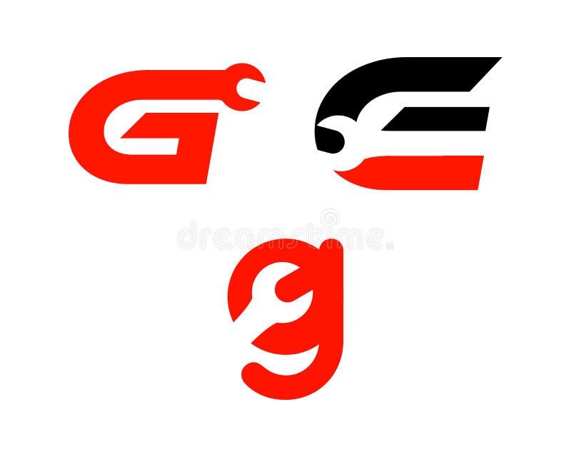 Ajuste da letra G com logotipo da chave, logotipo industrial, do reparo, das ferramentas, do serviço e da manutenção para a ident ilustração royalty free