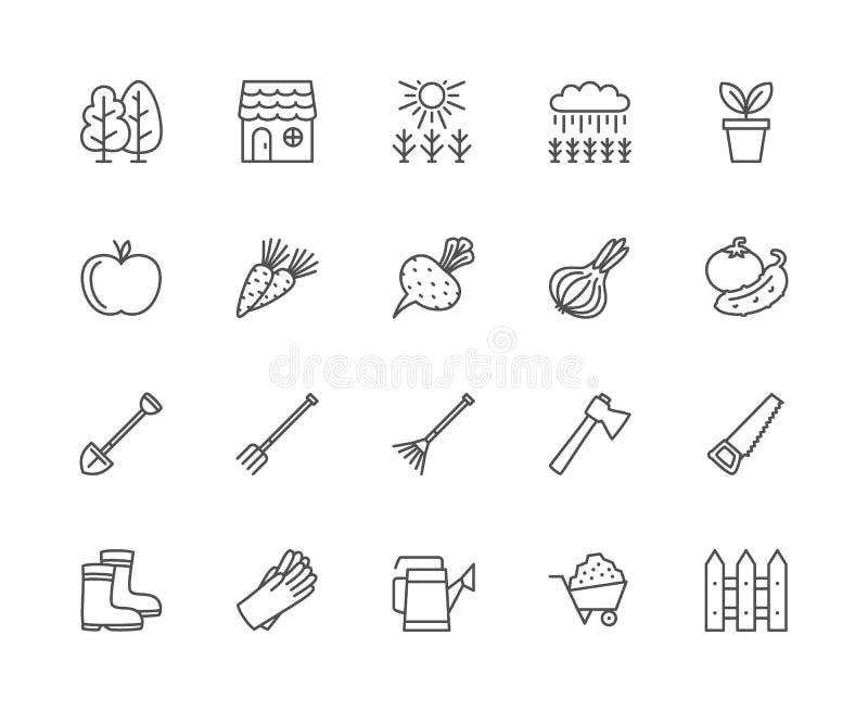 Ajuste da linha ícones da agricultura Árvores, floresta, casa, campo, vaso de flores e mais ilustração royalty free