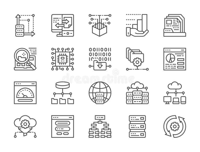 Ajuste da linha ícones da análise de dados Acolhimento, algoritmo do programa, banco de dados e mais ilustração do vetor