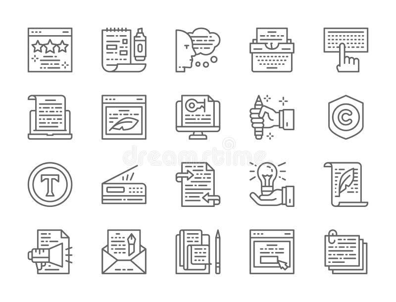 Ajuste da linha ícones de Copywriting Máquina de escrever, apresentações, impressora e mais ilustração stock